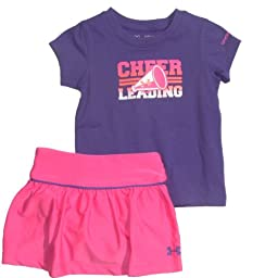 Under Armour Baby Girls\' Cheerleading Baselayer Set, Chaos/Pride, 24 Months