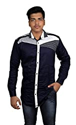 Zedx Men's Solid Casual Navy Blue Shirt