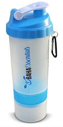 BahaEssentials Protein Shaker Bottle with Storage Compartments and Pill Tray 24 oz (Light Blue, 24 oz)