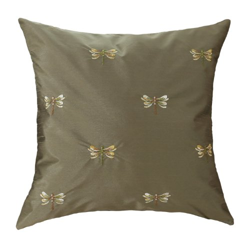 "Euphoria Contempo Home Decorative Throw Pillow Cushion Cover Pillowcase Shell Faux Silk Fabric Cute Vivid Dragonfly Embroidery Fir Green Color 18"" X 18"" front-610152"