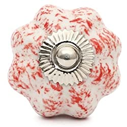 Knobs & Hooks Ceramic Cabinet Knob; White+Red; Set of four pieces