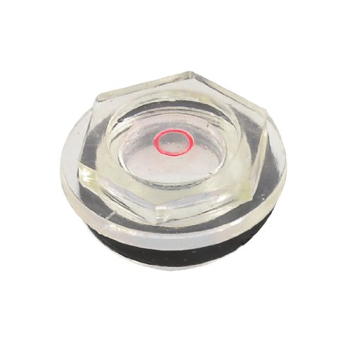 24Mm Male Thread Dia Air Compressor Part Oil Level Sight Glass Clear Black back-167186