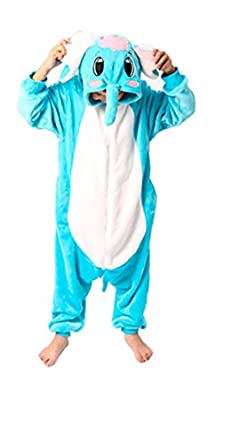 "Zicac Costume Animal Children and Adult Pajamas Pyjamas Sleepwear Nightclothes Cosplay Gift For Hallowmas (Adult Height   180-186cm(70.9""-73.2""), Blue Elephant)"