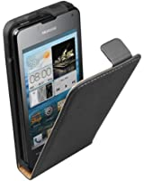 Ultra Slim Noir Cuir Étui Coque pour Huawei Ascend Y300 - Flip Case Cover Pochette + 2 Films de protection d'écran