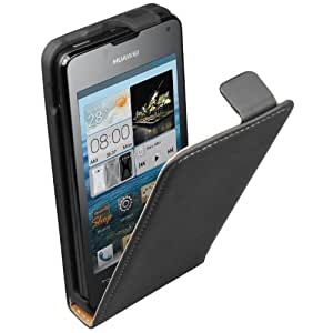 Membrane - Ultra Slim Black Vertical Case for Huawei Ascend Y300 - Flip Phone Cover + 2 Screen Protectors