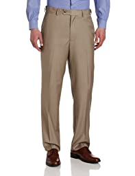 Louis Raphael Men\'s Striated Solid Flat Front Dress Pant with Comfort Waist, Tan, 42x34