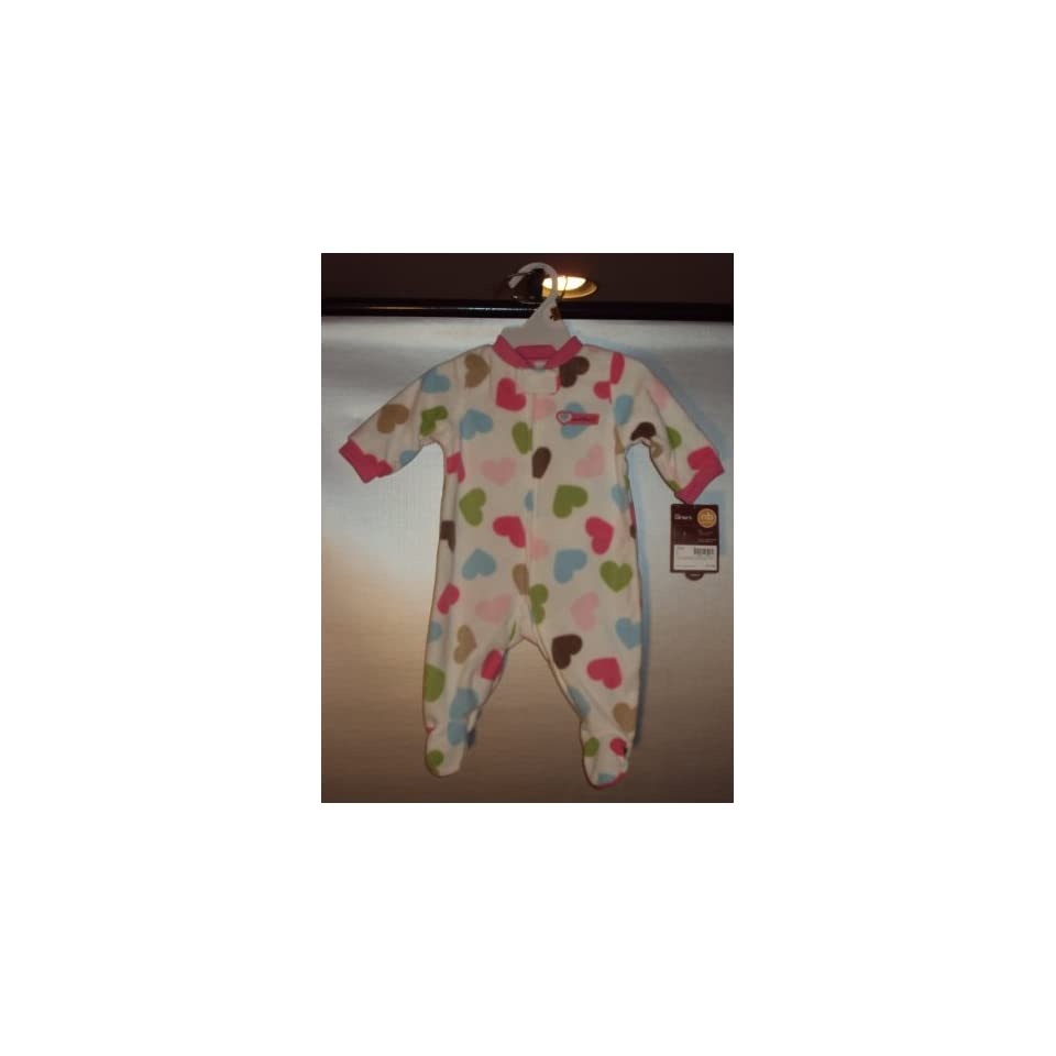 Carters Girls One piece L/S Polyester Microfleece White Hearts Footed Easy Entry Sleep and Play (Size Newborn, 5 8 Lb)