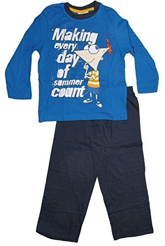 Pfineas and Ferb Kollektion 2014 Schlafanzug 98 104 110 116 122 128 134 140 Jungen Pyjama Neu Lang Agent P L131 Blau-Dunkelblau (98 - 104)