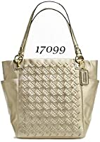Authentic Coach Woven North South Large Tote Bag Light Gold 17099