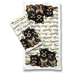 Yorshire Terrier Yorkie Puppies Dog Breed Kitchen Towels Set of 2