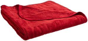 All Seasons Collection Micro Fleece Plush Solid King Blanket, Crimson