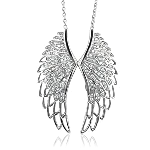 Diamond Pendant Necklace Sterling Silver Angel Feather Wing WHITE (HI, SI-I, 0.50 carat)