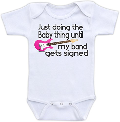 Just Doing The Baby Thing - Cute and Funny Baby Bodysuit or Baby Shirt (3 Months Bodysuit, Pink)
