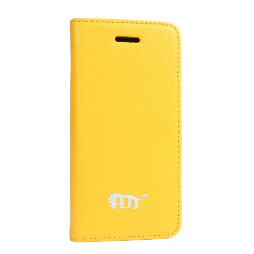 Best Price Pdncase Genuine Leather Carrying Cover Folio Style Lychee Pattern Compatible for iPhone 5 Color Yellow