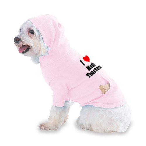 I Love/Heart Math Teachers Hooded (Hoody) T-Shirt with pocket for your Dog or Cat X-Small (XS) Pink