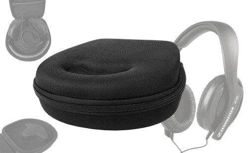 Duragadget Hard Eva Small Storage Case For Headphones / Earbuds For Sennheiser: Hd 202-Ii, Hd 219, Pc 310, Hd 449, Momentum On-Ear, Hd 201, Hd 600, Hd 650, Hd 280, Hd 800, Hd 205 - With Netted Compartment (Black)
