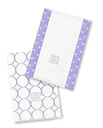 SwaddleDesigns Baby Burpies, Lavender Mod Circles (Set of 2 Burp Cloths)