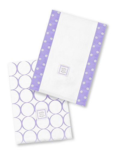 SwaddleDesigns Baby Burpies, Lavender Mod Circles (Set of 2 Burp Cloths)