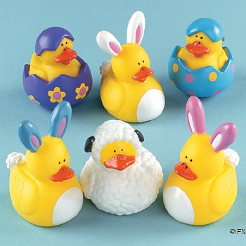 One Dozen (12) Easter Rubber Ducky Party Favors from Oriental Trading Co