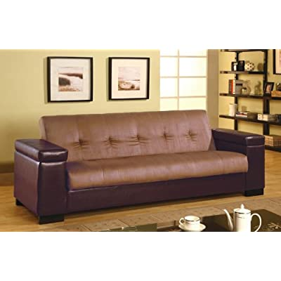 Sale Futon Sofa Bed With Storage Space In Tan Microfiber