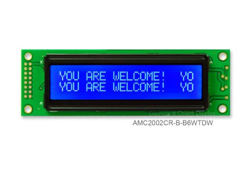 20X2 Character Lcd Module White On Blue With White Backlight Amc2002Cr-B-B6Wtdw