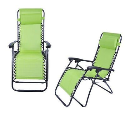 Globe House Products GHP 2 Green Outdoor Pool Garden Lounge Chairs Folding Recliner