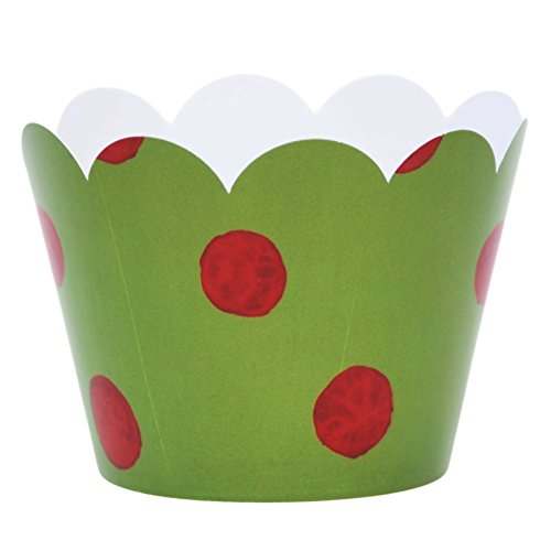 Cupcake Wrappers Green and Red Polka Dot Decorations for Packaging Christmas Treats and Food Gifts 36 Pieces by Confetti Couture Party Supplies
