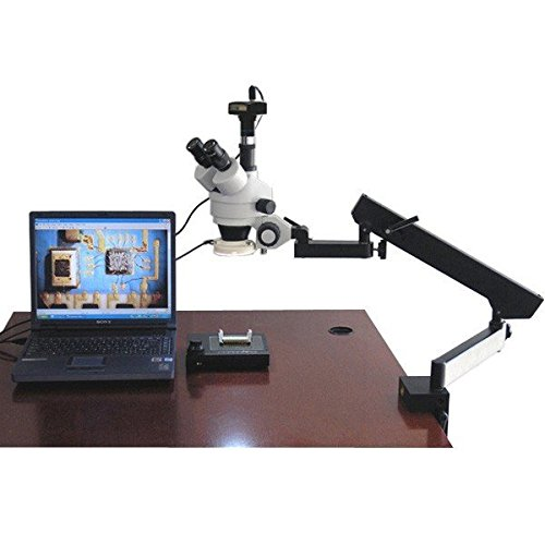 AmScope SM-6TZ-54S-10M Digital Professional Trinocular Stereo Zoom Microscope, WH10x Eyepieces, 3.5X-90X Magnification, 0.7X-4.5X Zoom Objective, 54-Bulb LED Light, Clamping Articulating Arm Stand, 110V-240V, Includes 0.5X and 2.0X Barlow Lenses and 10MP