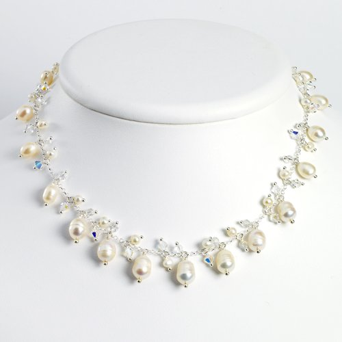 Sterling Silver White Cultured Pearl/Aurora Borealis Necklace