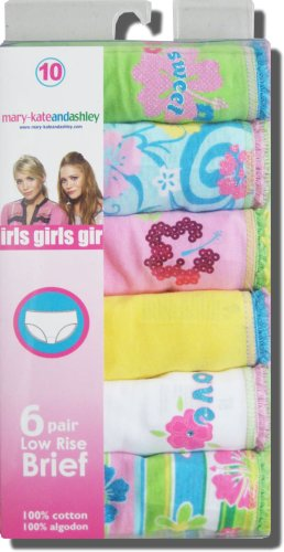 "Buy Girls Mary-Kate and Ashley Brand Cotton Low Rise Briefs ""Sweetness"" 6 pack assortment – ON SALE"