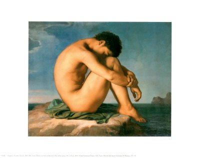 Young Male Nude, 1855 Art Poster Print by Hippolyte Flandrin, 14x11