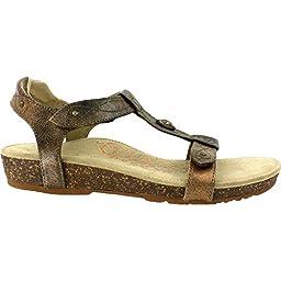 Aetrex Women\'s Lori Quarter Strap Sandal, Bronze, 7.5 M US