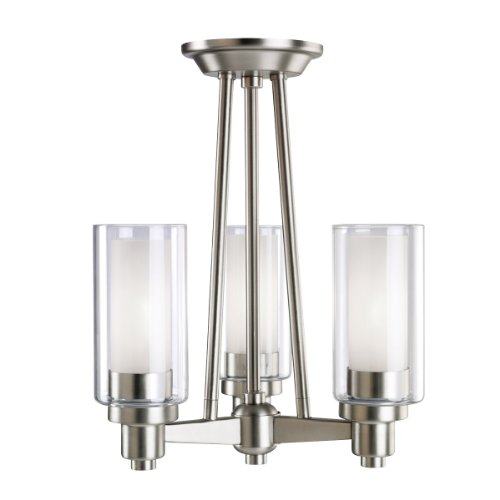 Kichler Lighting 3743NI Circolo 3-Light Semi-Flush Ceiling/Drop Chandelier, Brushed Nickel with Clear Glass Cylinders and Satin-Etched Inner Cylinders