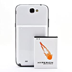 Hyperion Samsung Galaxy Note II 6200mAh Extended Battery + White Back Cover (Compatible with Samsung Galaxy Note II GT-N7100, T-Mobile Galaxy Note II SGH-T889, Sprint Galaxy Note 2 SPH-L900, At&t Samsung Galaxy Note II SGH-i317, and Verizon SCH-i605)