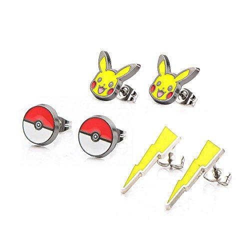 Pokemon Pikachu Fulmine Poke Ball orecchini a perno in acciaio inox Set