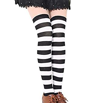 MIOIM Womens Girls Thigh High Striped Cotton Socks Over Knee Stockings