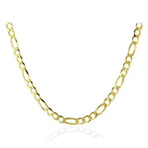 "18K Gold Overlay Sterling Silver Figaro Men's Necklace 20"" (Width 5mm)"