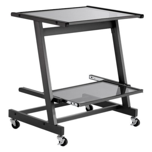 Buy Low Price Comfortable Zeus Computer Cart (Graphite Black/Smoked Glass) (28.74″H x 26.77″W x 19.09″D) (B005F15MXY)