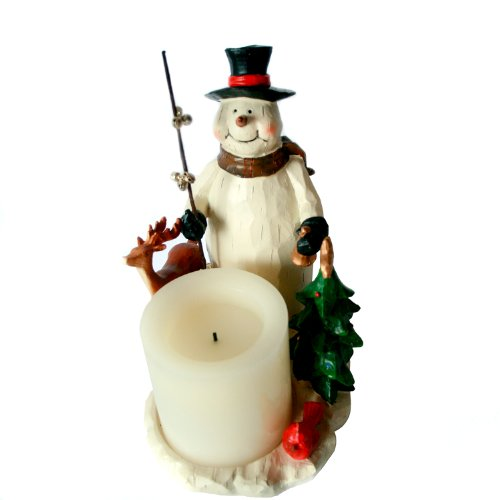 """Candle Impressions Forest Friends Snowman Candle Holder With 3"""" Flameless Candle"""