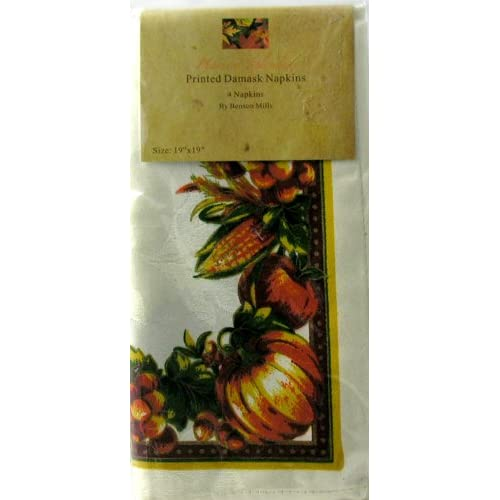 "Amazon.com: Benson Mills Set of ""4"" Harvest Splendor Damask Napkins"