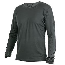 Merino 365 New Zealand 100% Merino Longsleeve Baselayer Shirt with Thumbloops, X-Large, Black