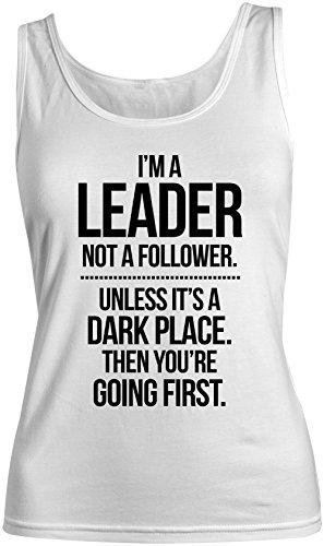 I'm A Leader Not A Follower Motivazionale Text Citazione Donna Tank Top Canotta Bianca X-Large
