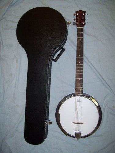 Banjo, Closed Back Resonator, 6 String, With Hard Case