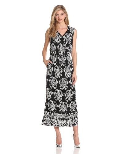 Jones New York Women's V-Neck Ruffled Maxi, Black/White, 10