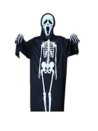 Moolecole Halloween Cloak Adults Skeleton Clothes/mask/gloves Set Skull Mask