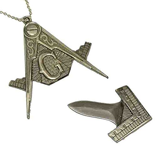 Freemasonary Masonic Square And Compass Hidden Knife Pendant Chain Necklace