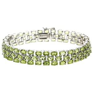 Sterling Silver 24.8 CT. TGW Genuine Peridot 3-Row Tennis Bracelet