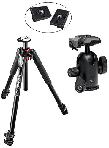 Manfrotto Mt055Xpro3 Aluminium 3-Section Tripod Kit W/ 498Rc2 Pro Tripod Head And 2 Replacement Quick Release Plates For The Rc2 Rapid Connect Adapter