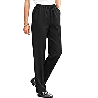 Blair women 39 s no iron poplin pants 18 black at amazon women s clothing store - How to unwrinkle your clothes with no iron ...