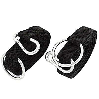 uxcell® Carabiner Clip Ring Hammock Strap Safety Belt Band 250cmx2.5cm 2 Pcs